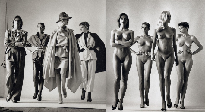 4 modelos vestidas desnudas
